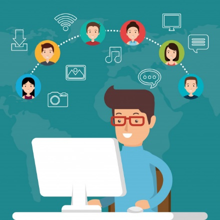 Community social media people Free Vector