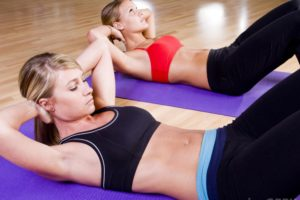 Workout on rubber mats for a toned body